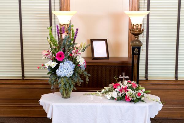 Garden Memories Vase and Memory Cross Arrangements